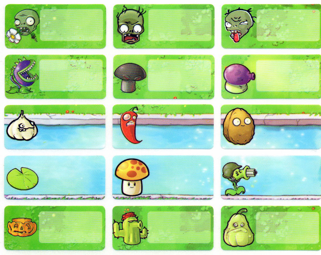 Medium Plants vs Zombies Name Stickers