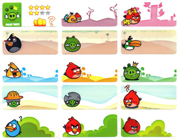 Medium Angry Birds Name Stickers