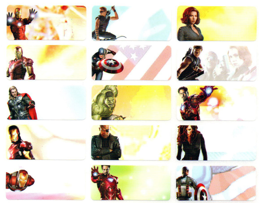 Medium Avengers Name Stickers