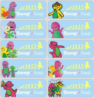 Large Barney Name Stickers
