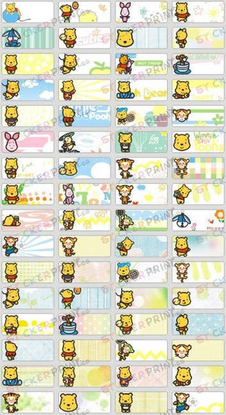 Small Cute Pooh Name Stickers