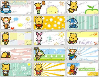 Medium Cute Pooh Name Stickers
