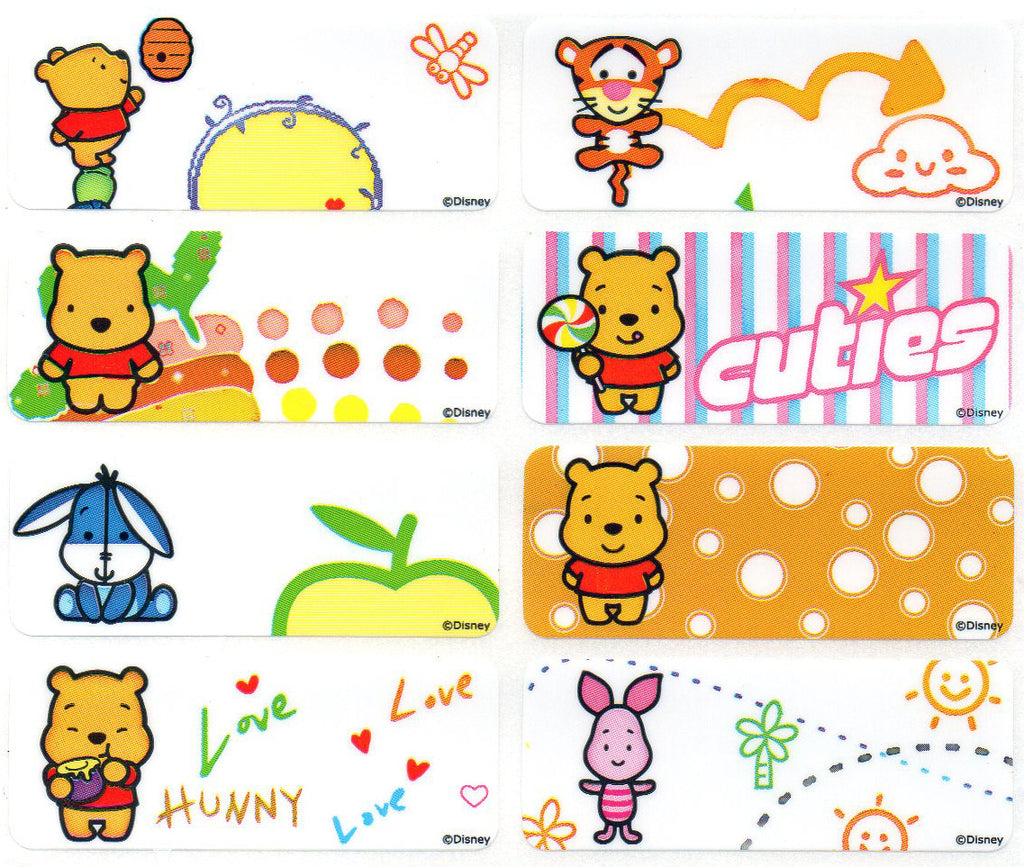 Large Cute Pooh Name Stickers