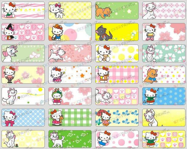 Small Hello Kitty Name Stickers