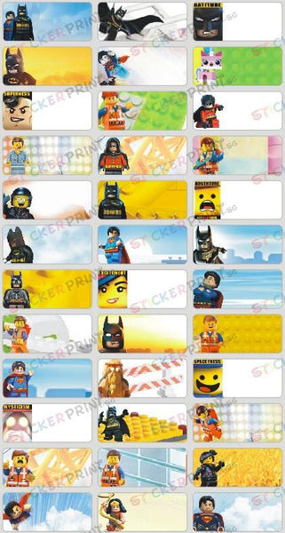Medium Lego Movie Name Stickers