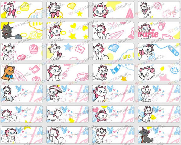 Small Marie Cat Name Stickers