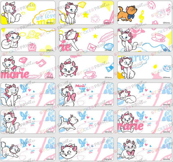 Medium Marie Cat Name Stickers