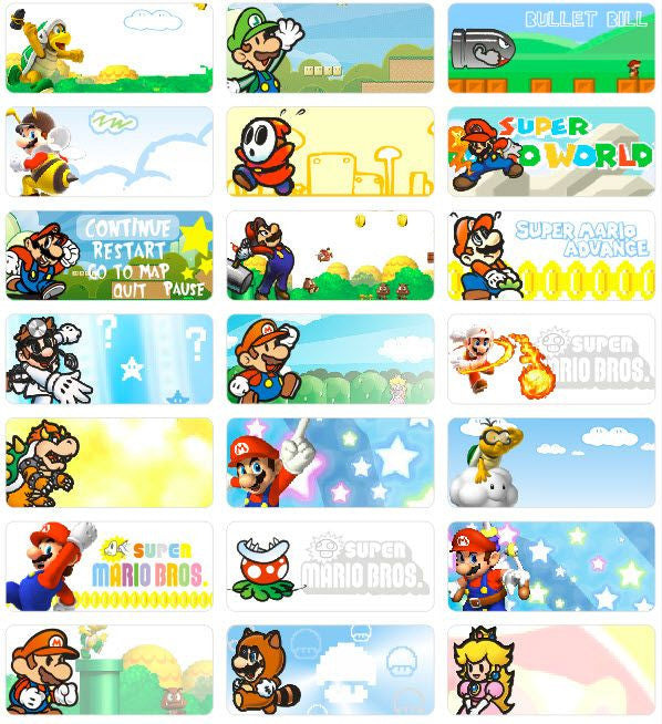 Medium Mario Name Stickers