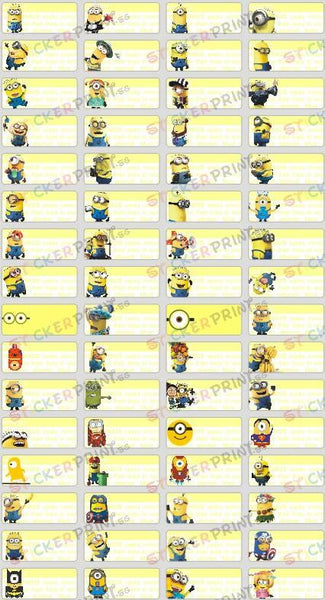 Small Minions Name Stickers
