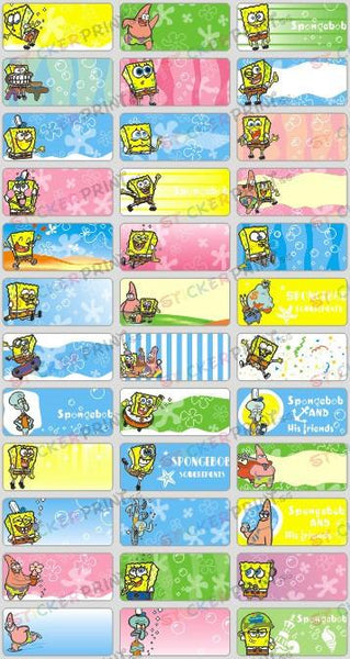 Medium Spongebob Name Stickers
