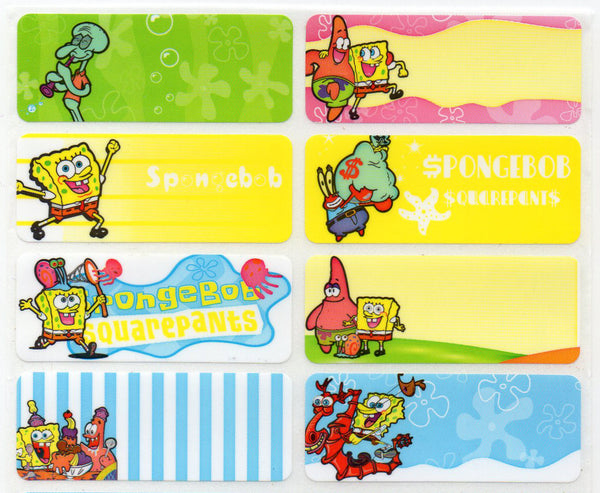Large Spongebob Name Stickers