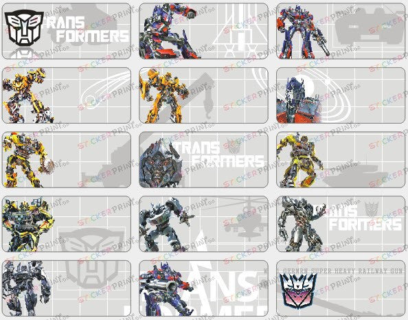 Medium Transformers Name Stickers