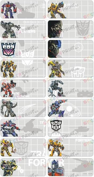 Large Transformers Name Stickers