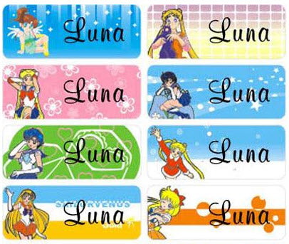 Large Sailor Moon Name Stickers