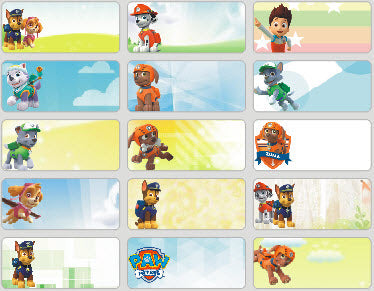 Medium Paw Patrol Name Stickers