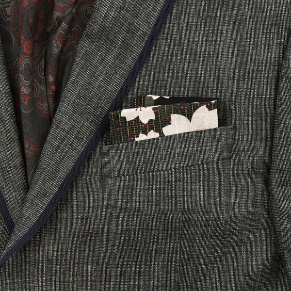 Black Sakura Pocket Square