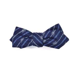 Blue Aizu Diamond Point Bow Tie