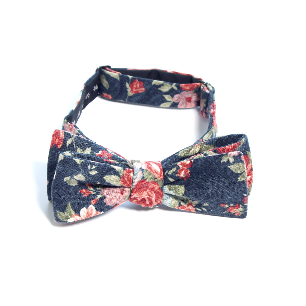 The Denim Roses batwing bow tie by Olaf Olsson is handmade neckwear made from Japanese cotton from Japan.