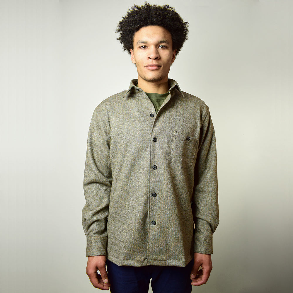 Yarn Dyed Wool Tweed Overshirt