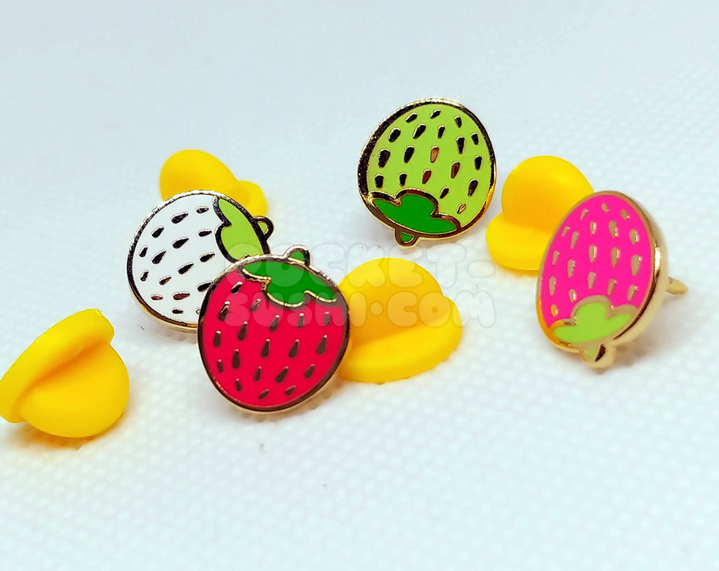 PRE-ORDER: Mini Strawberry Enamel Pin 4-Piece Set (early bird price!)