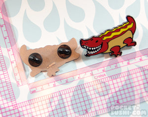 Hot Dog Gator Enamel Pin