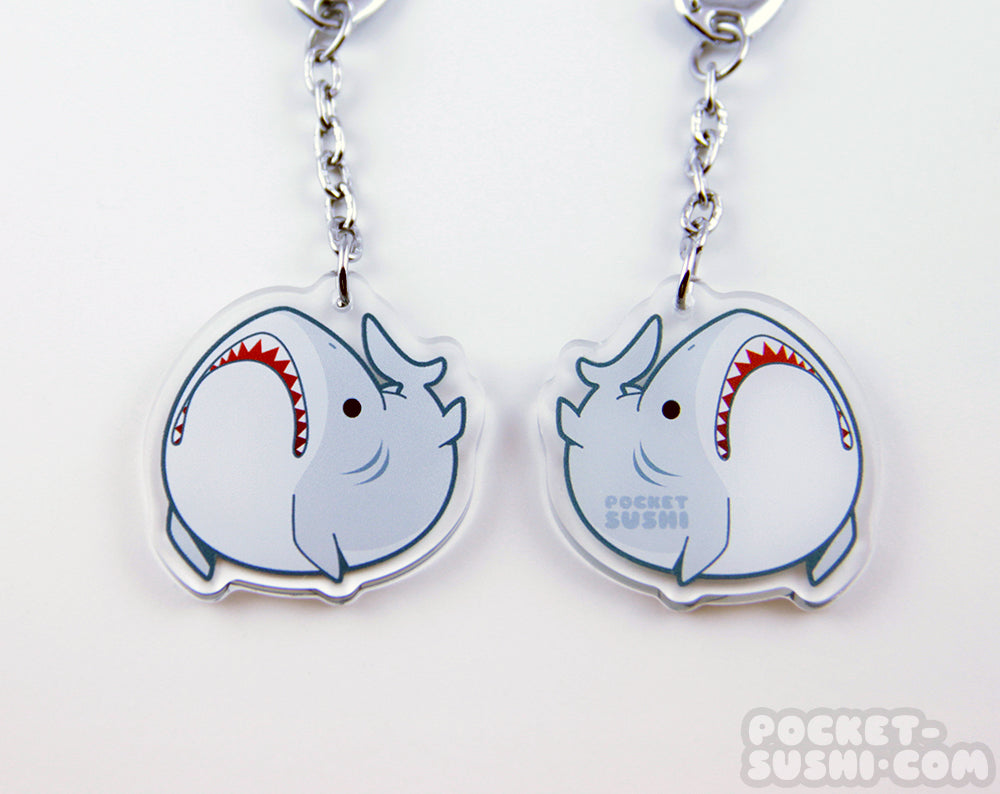 Derpy Great White Shark Acrylic Charm
