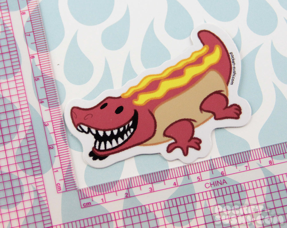 Hot Dog Gator Vinyl Sticker
