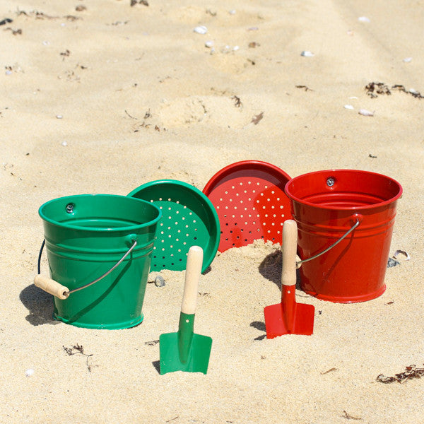 Enamel Red and Green Beach Bucket and Spades