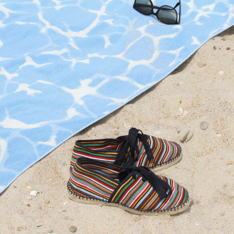 Multicolored Stripe Espadrilles at the beach