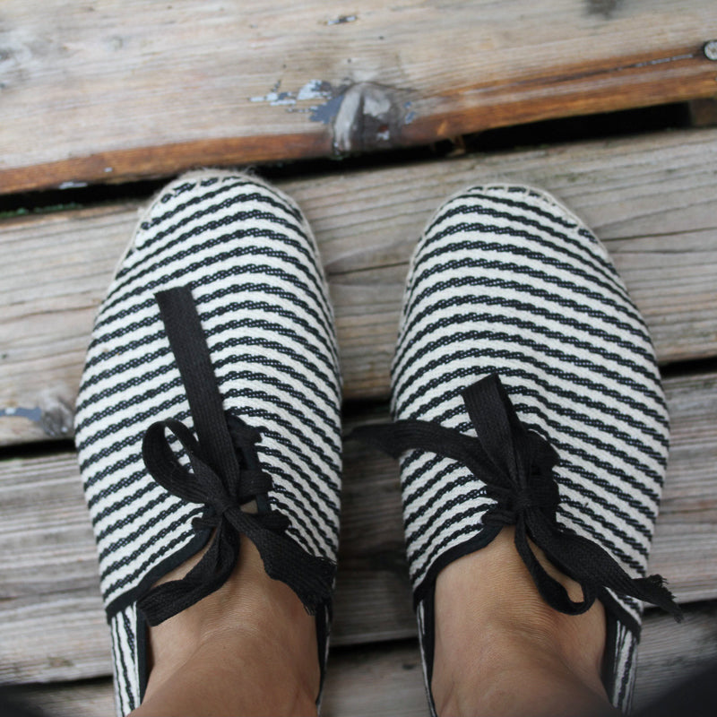 French Espadrilles - black and white stripes lace-up
