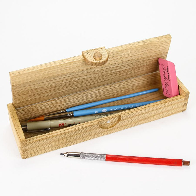 Wooden Oak Pencil Box. Made in Japan
