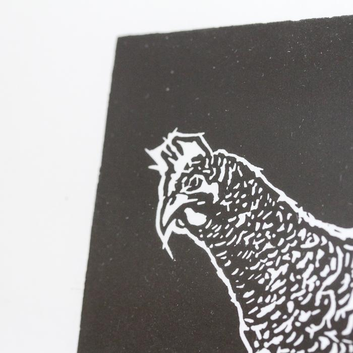 Peck. Limited Edition handmade linocut chicken print by Papat.