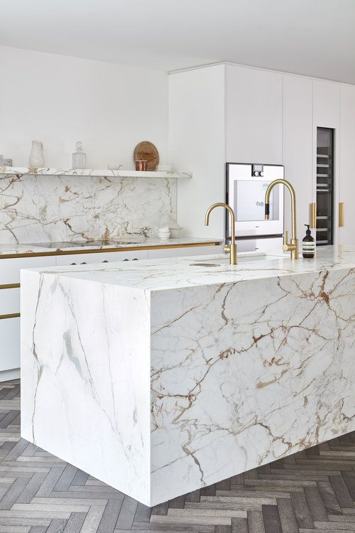 Modern rich white marble kitchen