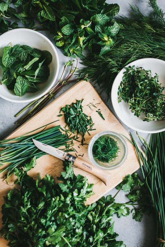 Cooking with fresh herbs Opinel folding knife. Image via pinterest