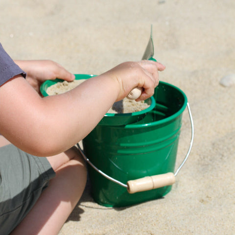 Green Enamel Sand Pail and Spade