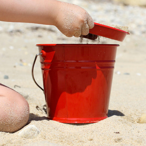 Red Enamel Toy Bucket and Sieve