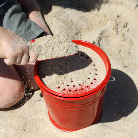 Red Enamel Sand Pail and Sieve