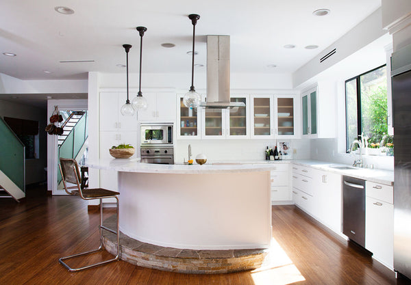 Modern White Kitchen with Curved Center Island