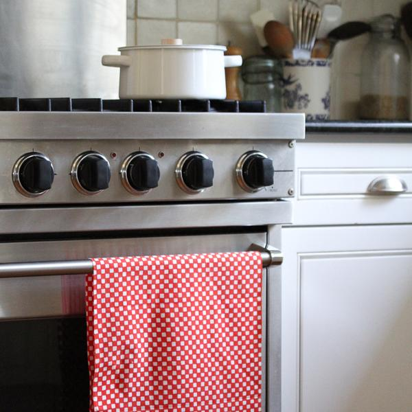 Japanese dish towel red and white check