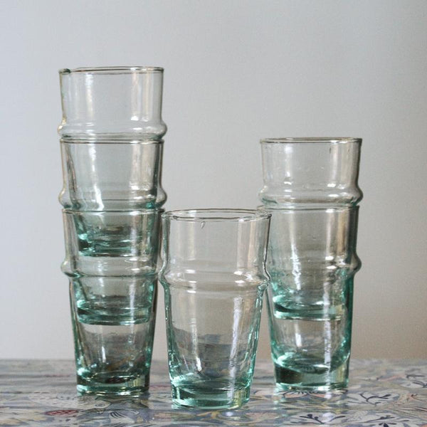 Stack of Recycled Moroccan Water Glasses