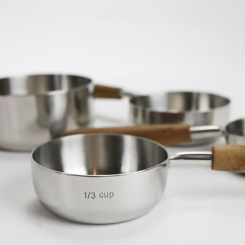 Stainless Steel Measuring Cups with Wooden Handles