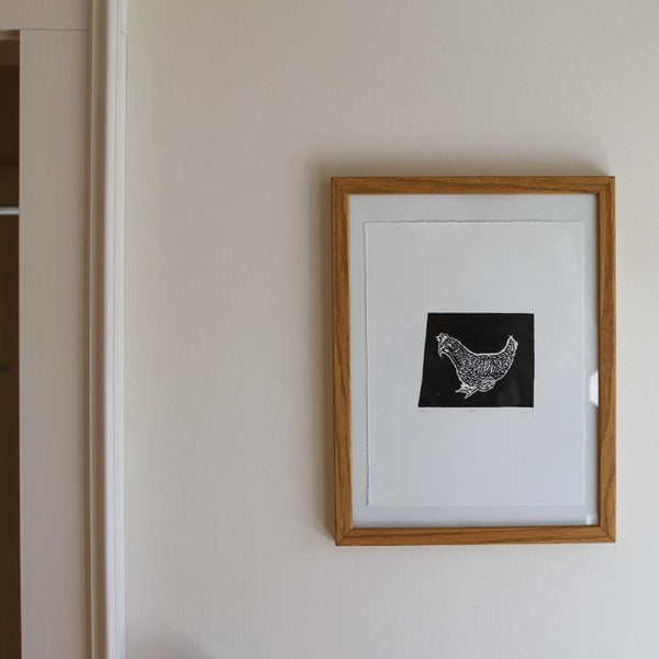 Peck. limited edition linocut print handmade chicken art by Papat