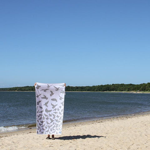 Pigeon/Dove Grey and White Reversible Papat Towel