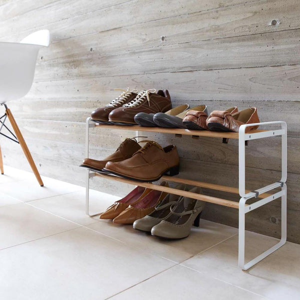 White metal and Wooden Stackable Shoe Rack