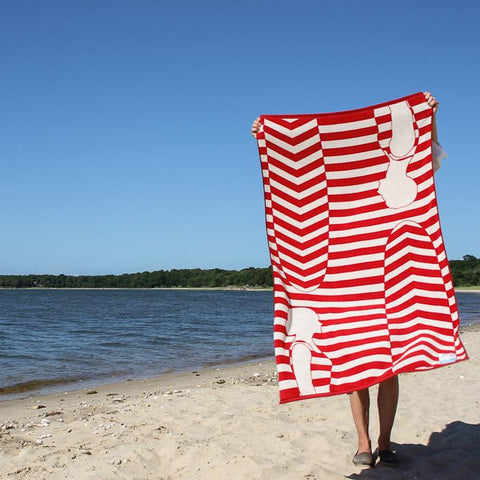 Vintage Surfers Red and White Papat Towel