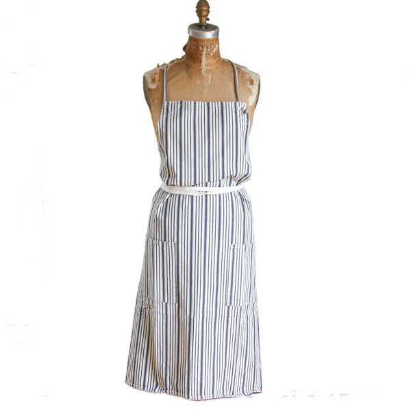 Long Apron - Indigo Stripes