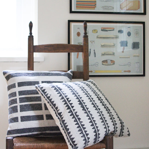 Block Print Cushion - Sawtooth