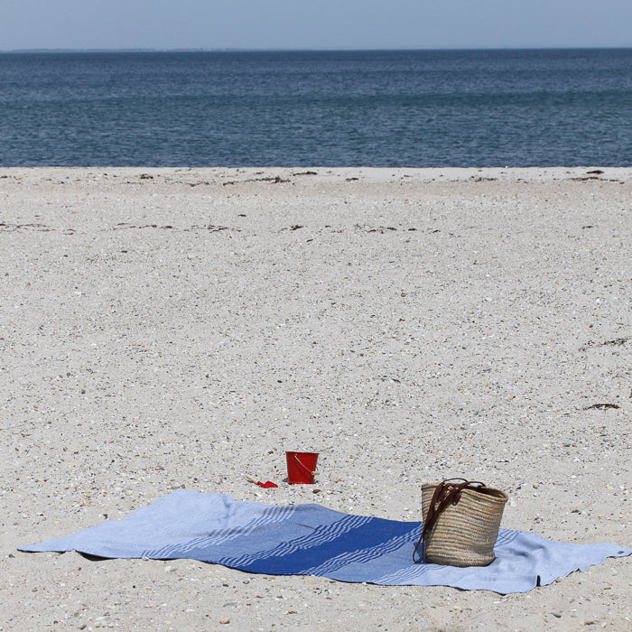 Cotton Beach Throw Blanket - Blue