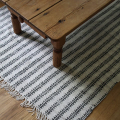 Cotton Rug - Sawtooth Block Print