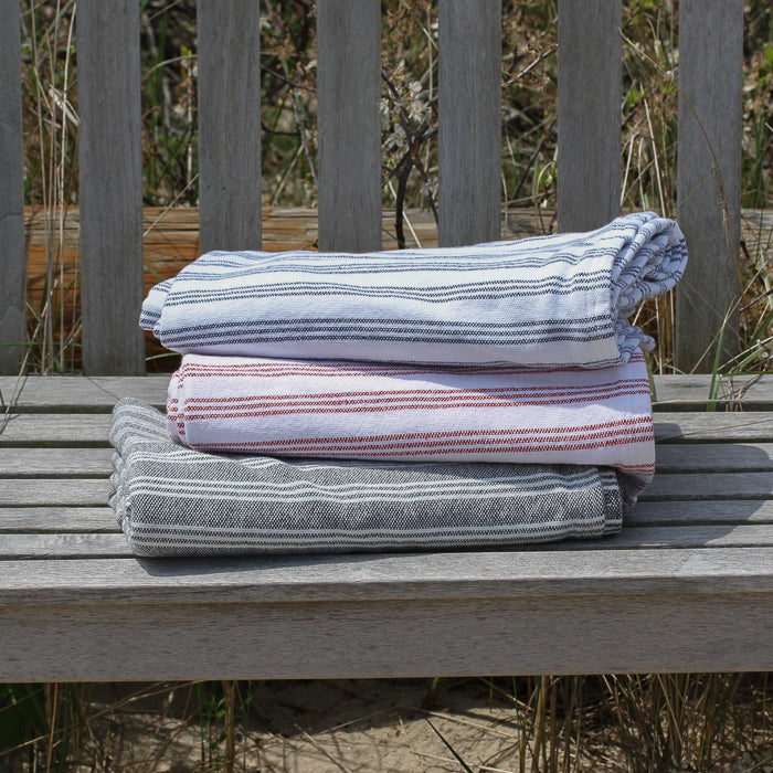 Cotton Throw Blanket - Red Stripes